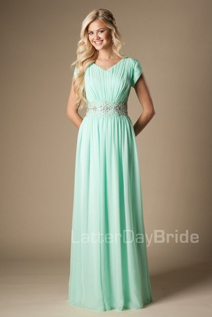 e0806a4ecc8 Mint Chiffon Maxi Long Formal Floor Length Modest Bridesmaid Dresses With  Cap Sleeves Beaded Ruched Bling