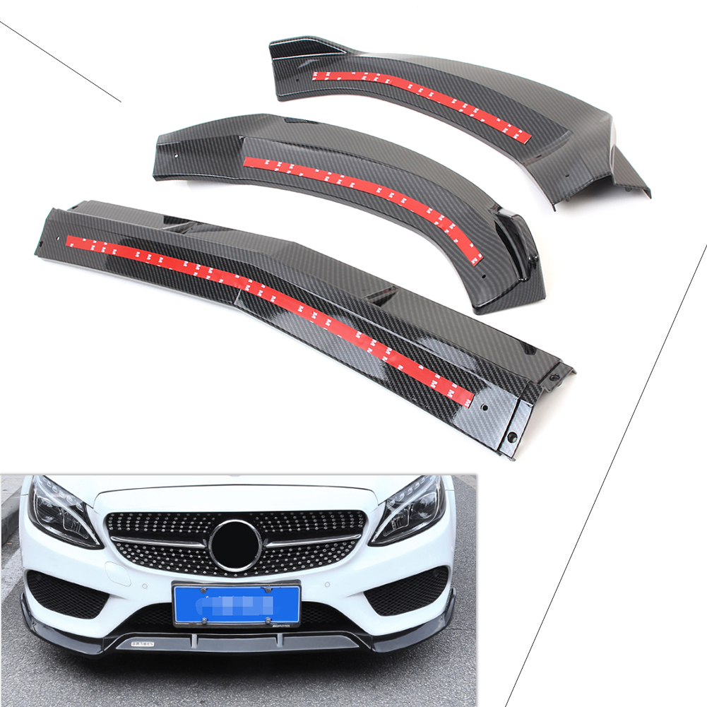 Carbon Fiber Front Bumper Lip Cover Trims For Mercedes Benz C Class W205 2015 2016 2017