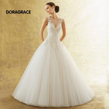 New Arrival Exquisite Applique Beaded A-Line Sweep Train Tulle Wedding Dresses Designer Gowns DG0073
