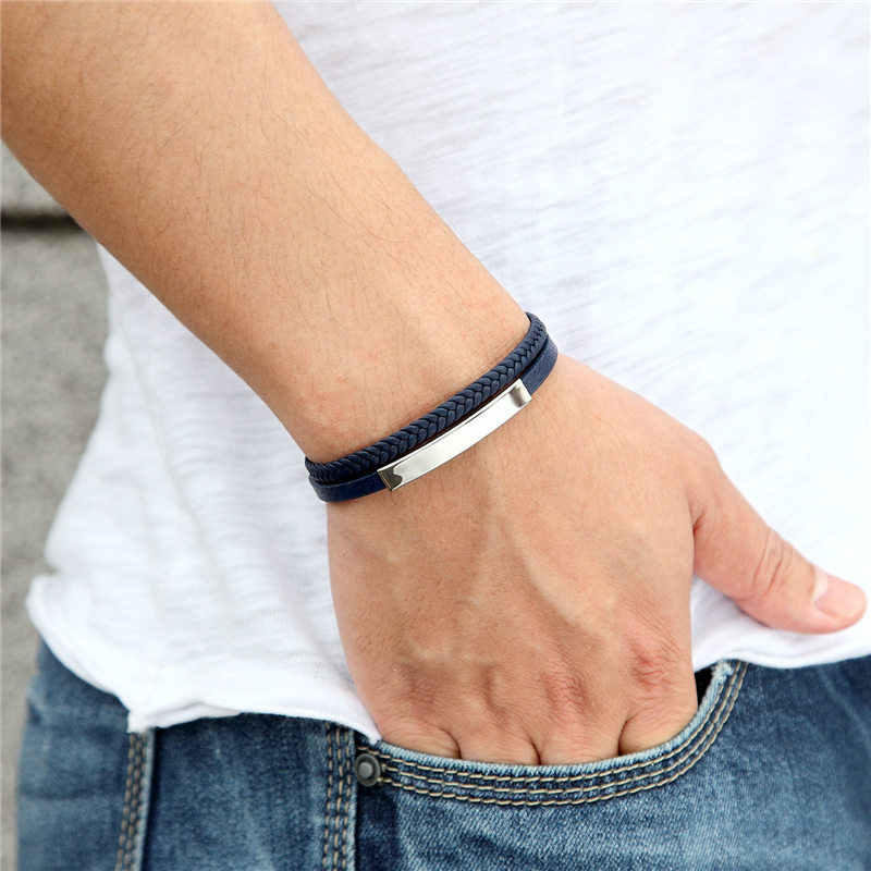 Fashion Male Jewelry Handmade Braided Leather Bracelet Wrist Band Charm Rope Chain For Men Women Gift Stainless Steel Bangles