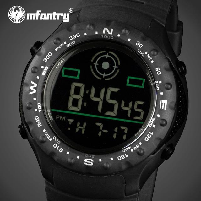 INFANTERÍA Hombres Reloj Militar Relojes Deportivos Relogio masculino Reloj Para Hombre Correa de Caucho LED Digital de Alarma Reloj de Pulsera