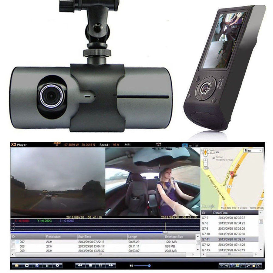 "2.7/"" Full HD 1080P Car DVR Camera Video Recorder Dash Cam G-Sensor Dual Lens VP"