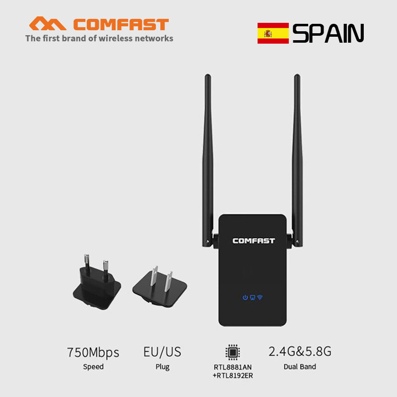 Original comfast Wifi Repeater 750Mbps 5.8G 802.11ac Mini Wireless N Router Wifi Repeater Long Range Extender Booster EU US Plug