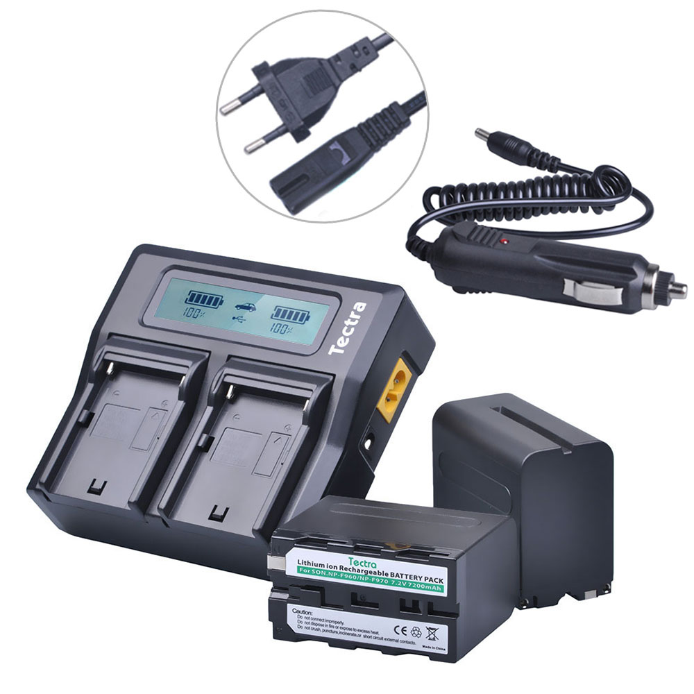 Tectra 2Pcs NP-F970 NP-F960 Battery + LCD Rapid Dual Charger for Sony DCM-M1 MVC-CD1000 HDR-FX1 DCR-VX2100E DSR-PD190P