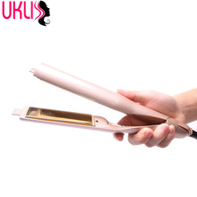 Gold Plated Titanium Plates Hair Straightener Irons 2 In 1 Fast Hair Straightening Curlers Curling