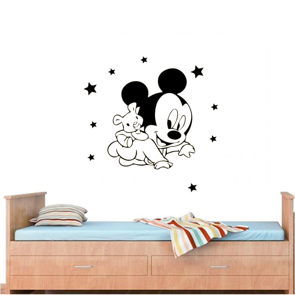 1 PC Mickey Mouse Minnie Wall Sticker Wall Decals Vinyl Stickers for Children Room Kids Room Decoration Accessories in Wall Stickers from Home Garden