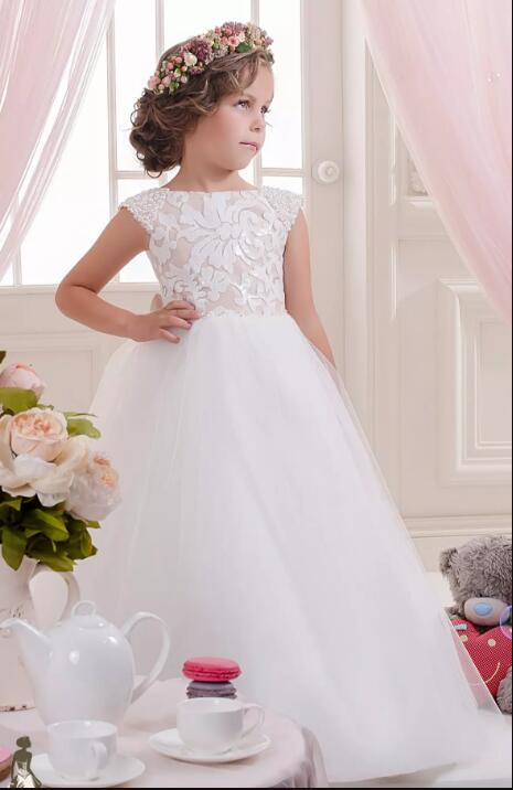 High Quality Custom Made Lace Pearls Off Shoulder Tulle Flower Girl Dresses Child Pageant Dresses Flower Girl Dresses