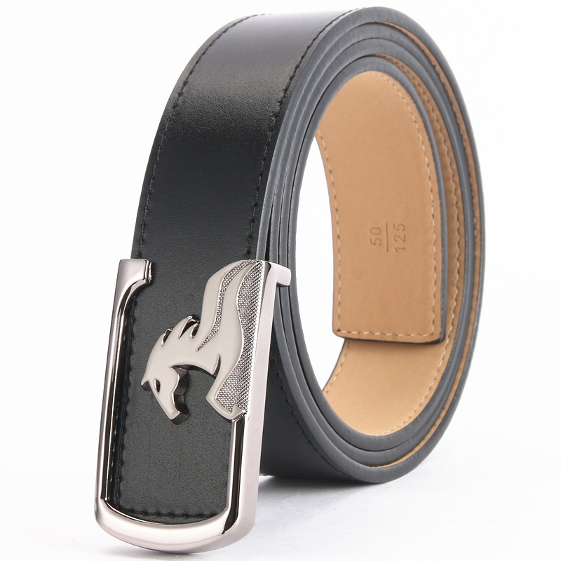 2018 New Arrival Design Male Quality Cowhide Genuine Smooth Buckle Black/Brown Belts for Men Leather Belt Jeans Waistband