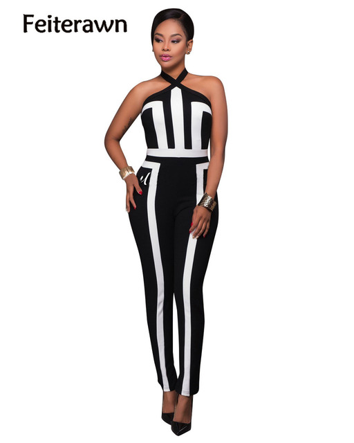 Feiterawn 2017 new arrival hot sales spring Sexy stitching patchwork long jumpsuit brief style black and white MC5254