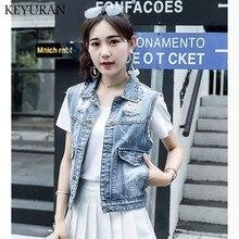 Nueva chaqueta de talla grande de 2019 con agujeros para mujer, chaleco vaquero informal ajustado, chaleco vaquero Vintage para mujer
