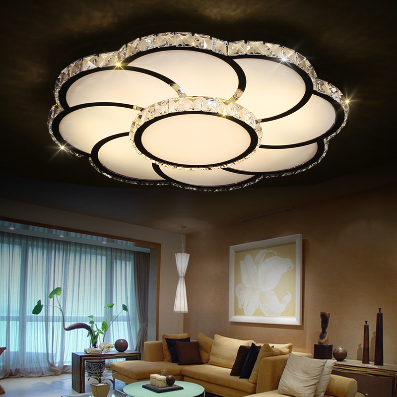 Living room lamp atmosphere led ceiling lamp flower lamp bedroom lamp warm creative crystal restaurant lighting