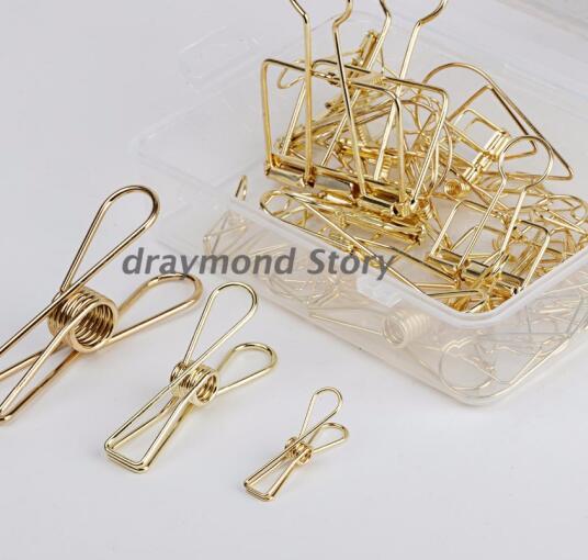 Желтое золото/розовое золото связующее металлические зажимы, скелетные зажимы, скрепки для бумаги зажимы для книг - Цвет: rose gold