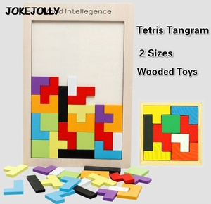 Colorful Wooden Tangram Brain Teaser Puzzle Toys Tetris Game Preschool Magination Intellectual Educational Kid Toy GYH(China)