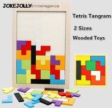 Kolorowy drewniany Tangram łamigłówka Puzzle zabawki gra Tetris przedszkole Magination intelektualna edukacyjna zabawka dla dzieci GYH