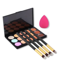 15 Colors Contour Concealer Palette + 4pcs Powder Brushes +Sponge Blender For Women