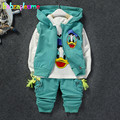 Primavera Otoño Niños Bebés Traje Sport Casual Tops + Pants + Coat 3 unids/set Niños Ropa Niños Chándal Ropa Del Niño 0-4 T BC1298