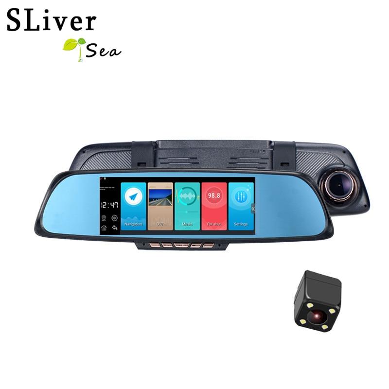 SLIVERYSEA 6,86 Touch ram 1 Гб rom 16 Гб 2 split View Android зеркало с Навигатором GPS Автомобильный видеорегистратор с двумя объективами камера заднего вида Wi Fi FM
