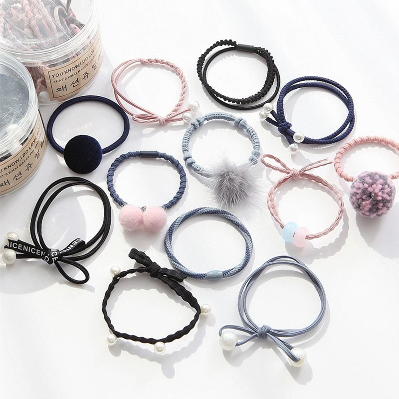 12Pcs/Lot Women Pearl Ball Hair Bands Cute Elastic Hair Rubber Set For Lady Girls Ponytail Holder Headwear Hair Accessories