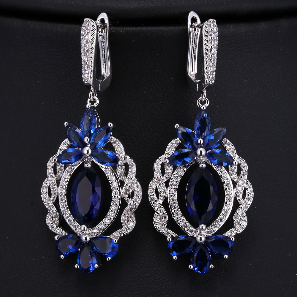 Popular Royal Blue Chandelier Earrings-Buy Cheap Royal Blue ...:Vintage Floral Shaped Created Royal Blue Navette Drop Clip on Earrings  Silver Tone Open Strand Deco,Lighting