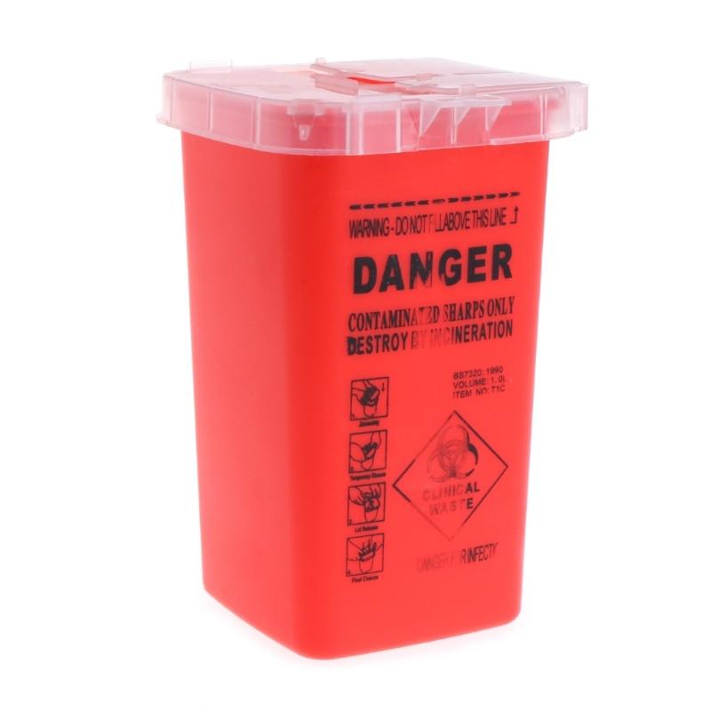 1pc 1L Tattoo Medical Red Plastic Sharps Containers For Tattoo Artists Newest Tattoo Sharps Container Needle Disposal Tools