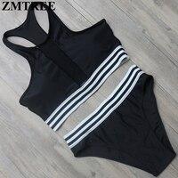 ZMTREE High Neck Bikini Set Women Mesh Swimsuit Tankini Swimwear 2017 Black Beach Wear Sexy Bikini