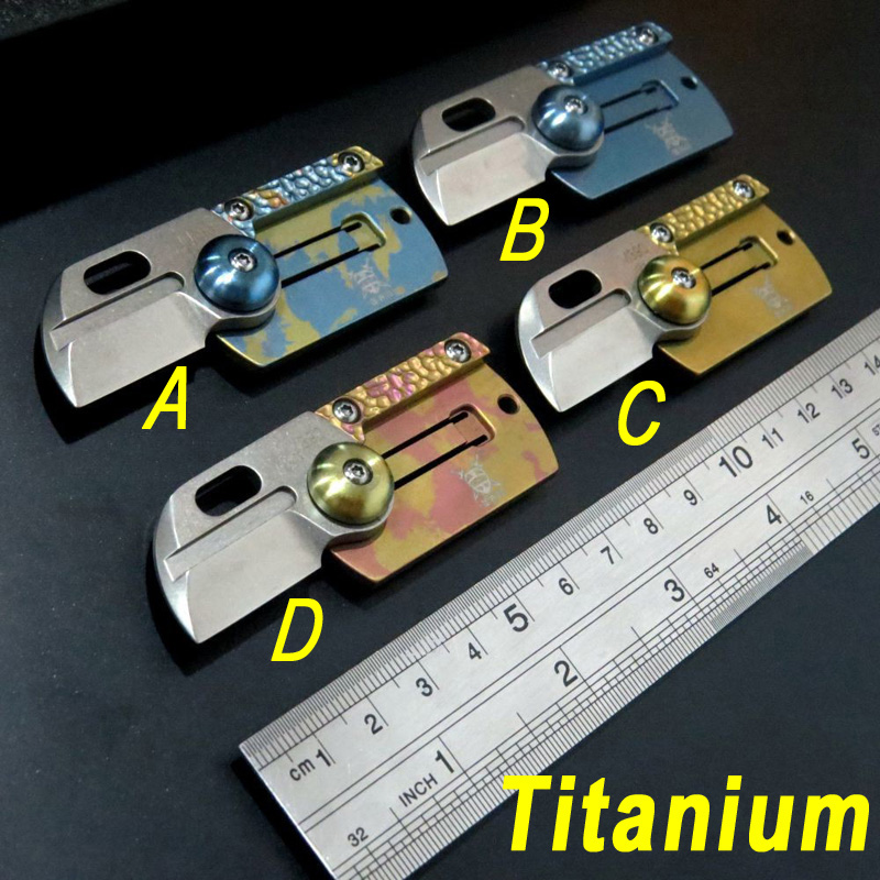 MINI Folding Blade Coin key chain Titanium font b Knife b font M390 blade titanium handle