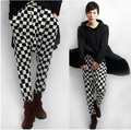 28-40 ! men Spring summer plus size harem pants male casual black and white checkerboard palid tapered trousers stage costumes