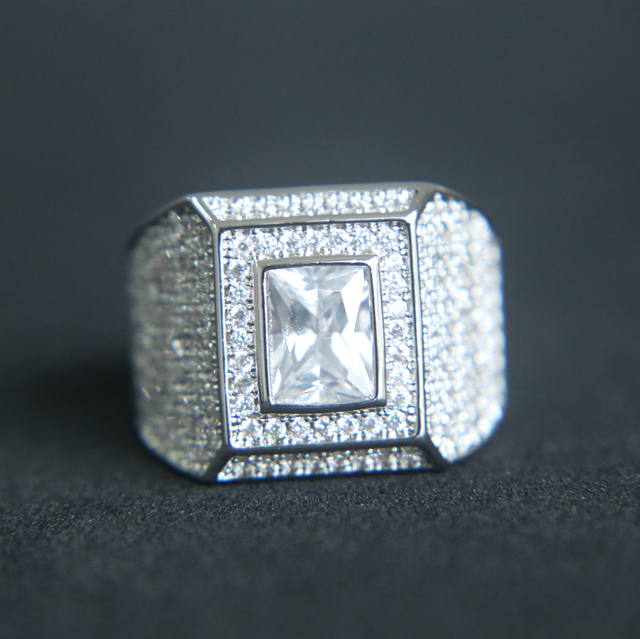 2017 silver AAA cubic zirconia hip hop bling jewelry High quality sparking men's engagement ring Cool jewelry