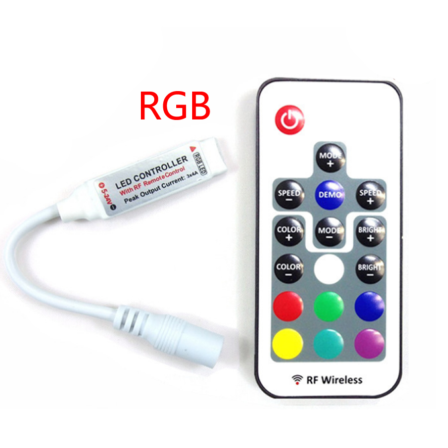 Micro-size RGB Led Remote Controller DC5-24V RF Wireless Remoter 4pin For 12A RGB Led Strip Lighting 5050 Tape Light