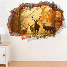 Forest Jungle Wild Deer Leaf Wall Stickers 3D Vivid Wall Decals Poster Mural Living Room Bedroom Home Decor(China)
