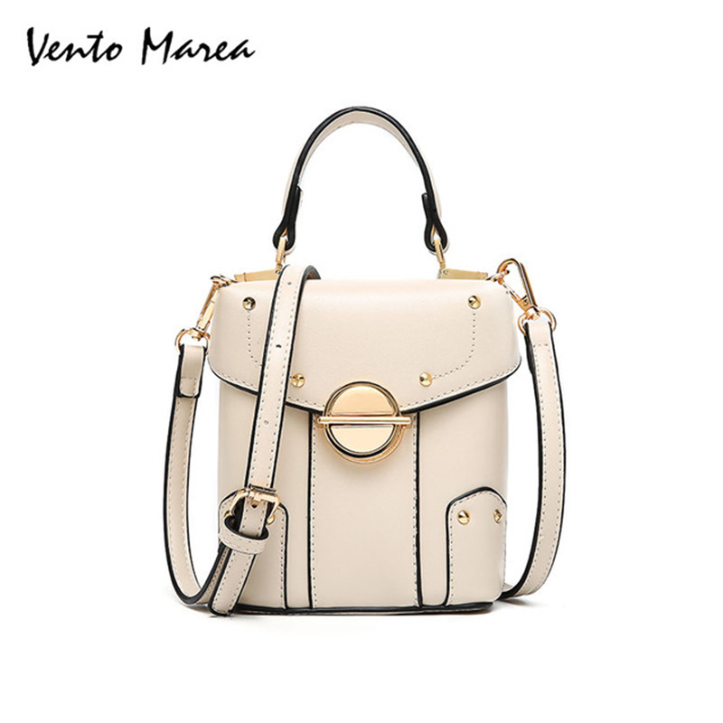 Vento Marea Women Square Bag Handbags Shoulder Bag Female Satchel Bag PU Leather Patchwork Rivet Bucket Bags Bolsos Mujer цена