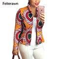 Feiterawn 2017 новое поступление горячей продажи весна Сексуальная Отпечатано стенд Воротник Куртки мода новый дизайн светлый цвет YM8073