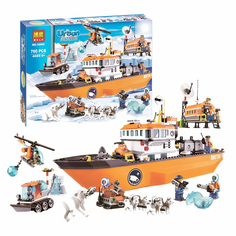 Bela 10443 City Police Arctic Icebreaker Compatible with 60062 Assembled Building Block Urban Series Snow Ship Brick Constructor цена