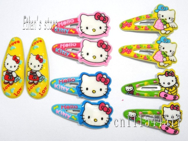 Free Shipping Girls cartoon Hello Kitty Hair Clips  baby Barrette wholesalers Mix color