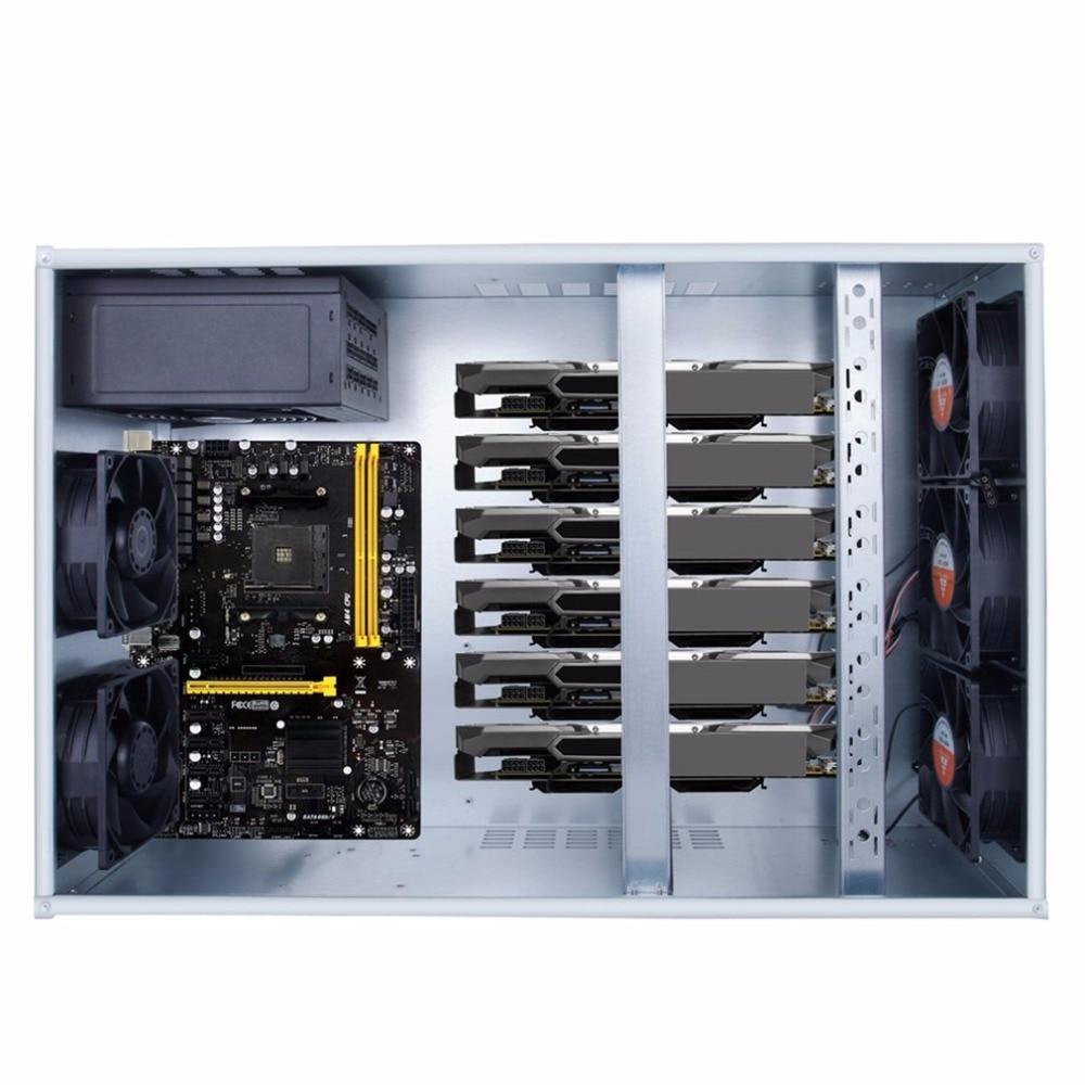 Профессиональные горные случае ETH BTC открытым горного воздуха Шахтер Frame Rig для монет Графика чехол для 6 8 GPU с 5 Мощные вентиляторы
