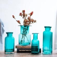 Nordic simple solid color fresh blue transparent vase flower arrangement plant dry vase glass bottle decorative ornaments