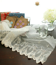 Vintage Style Cream Cotton Embroidery Soft Tulle Lace Trim with Leaf Pattern , Bridal Veil Wedding Gown Doll Dress Lace 16 cm