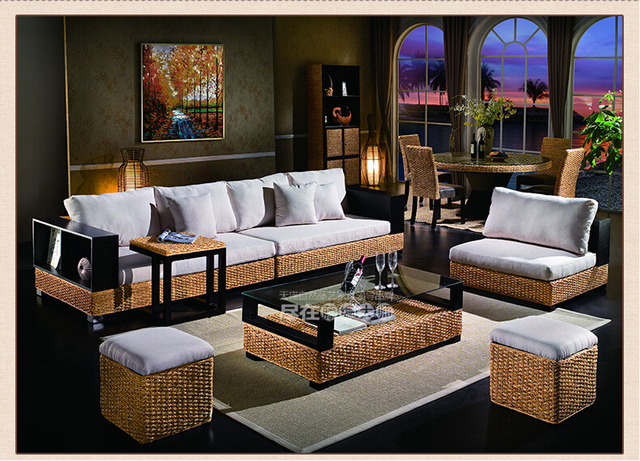 2016 New Design Fashion Leisure Indonesian Rattan Sofa Living Room Furniture  With Wood Frame