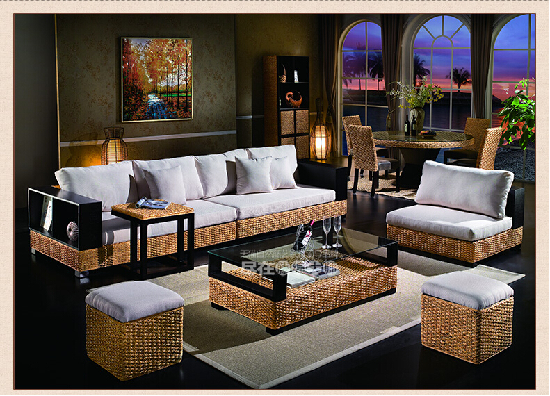 2018 new design fashion leisure indonesian rattan sofa living room furniture with wood frame image