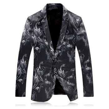 Loldeal  2018 wedding new arrival Single Breasted printed causal blazer men,men's suits stage cloth jacket men plus-size  M,4XL