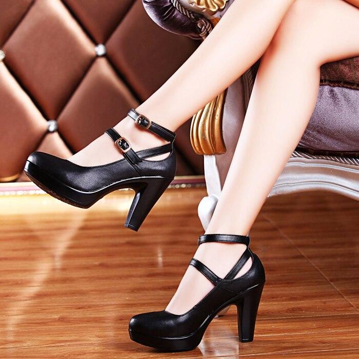 De 34 Ol Travail Noir Véritable Femmes Femelle Cuir Talons Grande Taille Hauts Pompes 42 Chaussures Confortable wBgxqzH6x