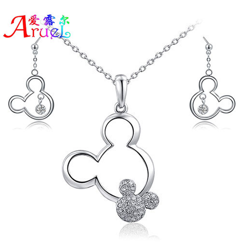 bizhuteri vendos dhurata Mickey Pendant Necklace Drop Vathë Austri Austri Crystal Crystal necklaces weeding Set For ansambël Bijoux Women