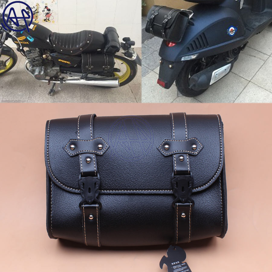 Motorcycle Side Saddle Bag Luggage Leather For Harley Electra Glide Honda Bobber