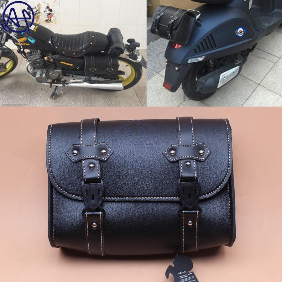 Motorcycle Side Saddle Bag Luggage Leather For Harley Electra Glide Honda Bobber