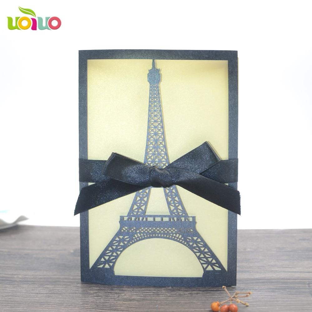 10set Lot Free Shipping Eiffel Tower Invitations Laser Cut Latest Wedding Design Birthday Invitation Card