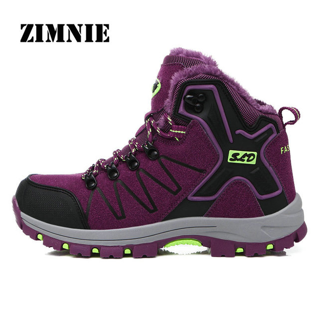 ZIMNIE Men's Trekking Shoes Anti-slip Walking Shoes Mountain Shoes Comfortable Warm Outdoor Sneakers Women Winter Hiking Shoes