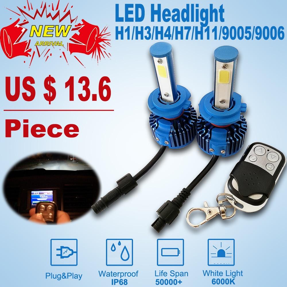 New H7 H4 led Car Headlights Automobiles Headlamp H1 H4 H7 H11 9005 9006 Remote control Led Light Bulbs 6000K Fog Lamps new 2016 2pcs xml2 car led 12 24v 2000lm car lamps headlights fog light h7 h11 h8 hb3 hb4 9005 9006 free shipping