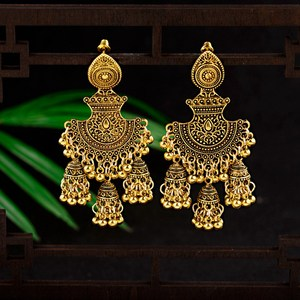 New Ethnic Vintage Women's Geometric Turkish Jhumka Earrings Indian Jewelry Gold Bell Tassel Dangling Earrings Turkey Jewelry(China)