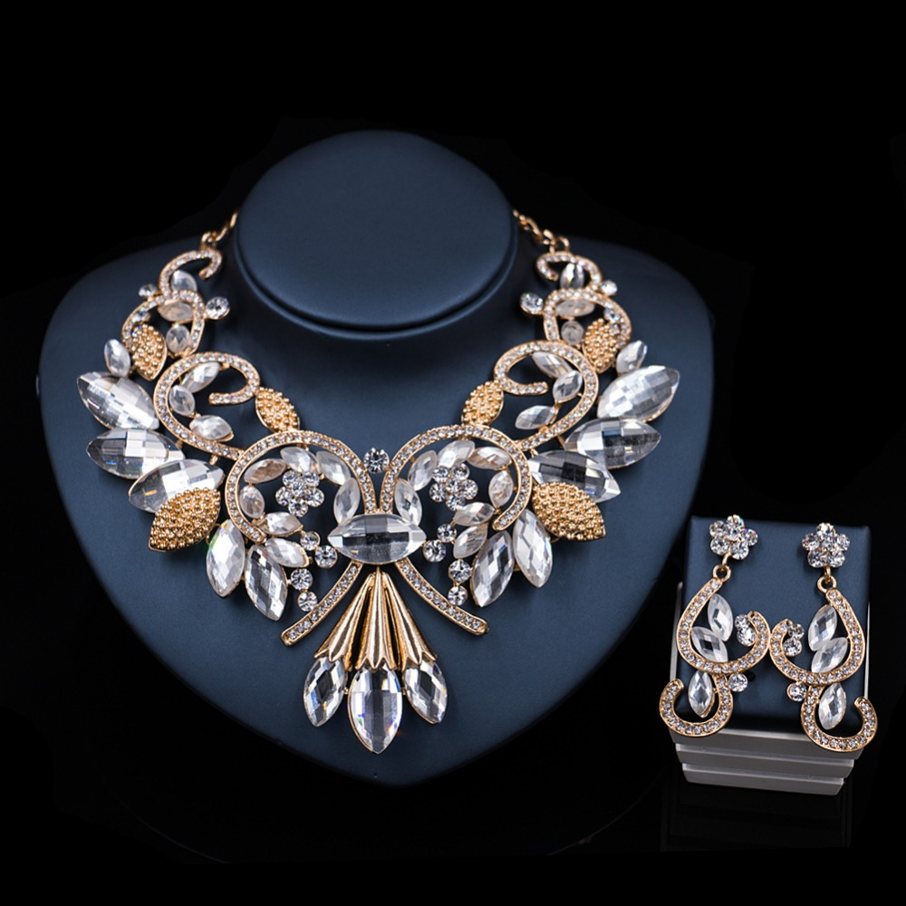 LAN PALACE fine jewelry african wedding beads nigerian necklace and earrings for party ensemble bijoux