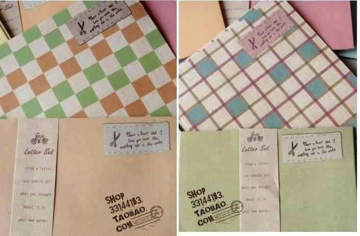 4 шт. бумага для письма+ 2 шт. конверт/упаковка, набор цветной бумаги для письма, конверт в клетку, бумажный набор